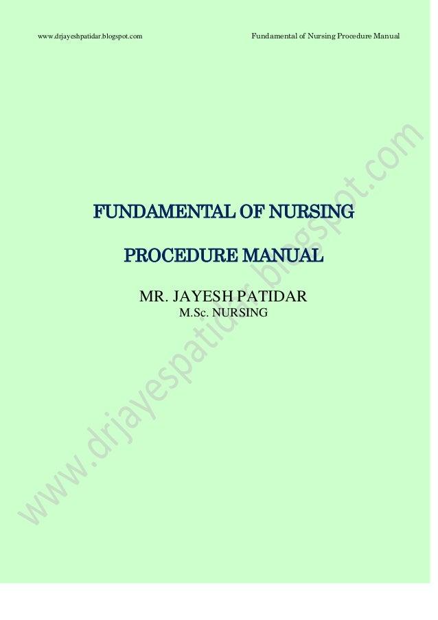 Fundamental of nursing procedure mannual