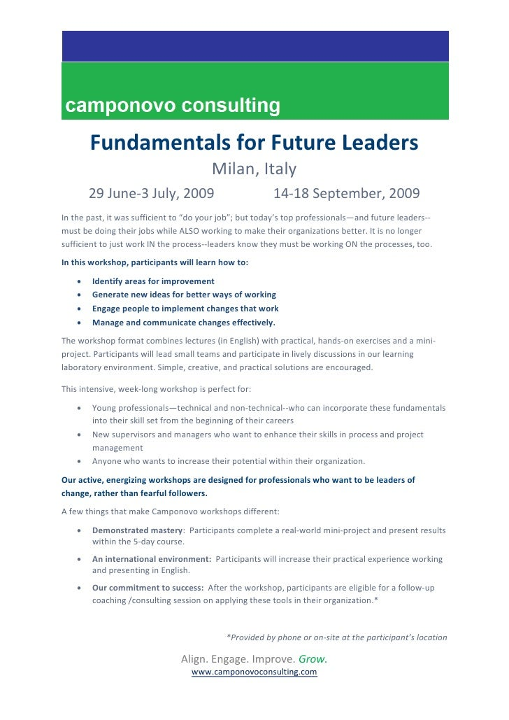 Fundamentals for Future Leaders                                         Milan, Italy         29 June-3 July, 2009         ...