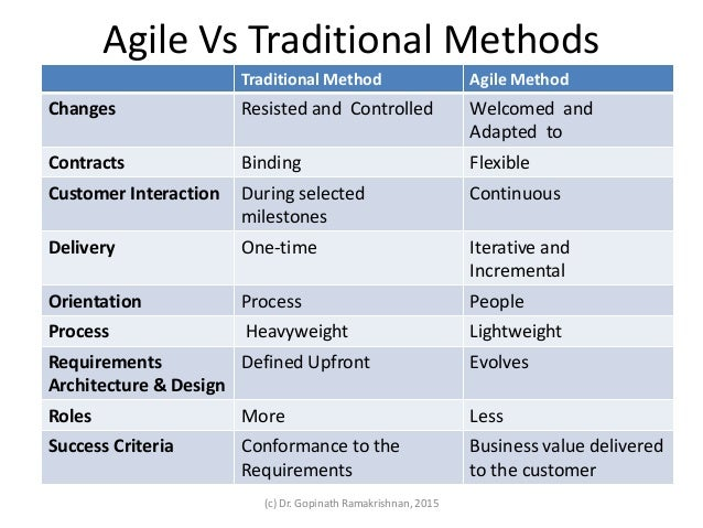 Fundamentals of agile methodologies part i for Agile vs traditional methodologies