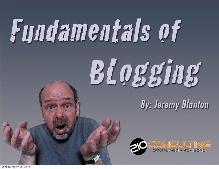 Fundamentals Of Blogging