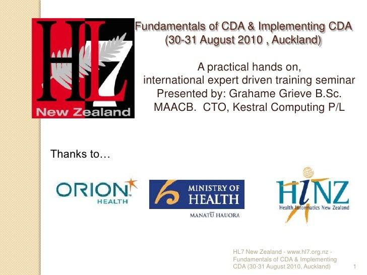 Fundamentals of HL7 CDA & Implementing HL7 CDA
