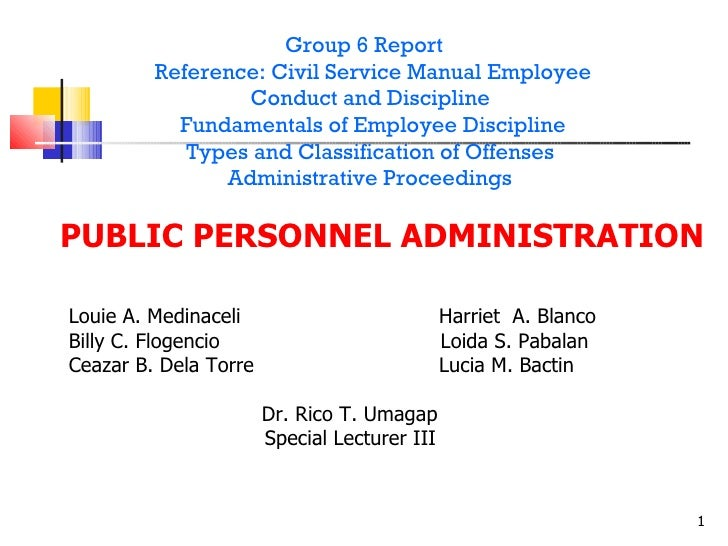 Group 6 Report Reference: Civil Service Manual Employee Conduct and Discipline  Fundamentals of Employee Discipline Types ...