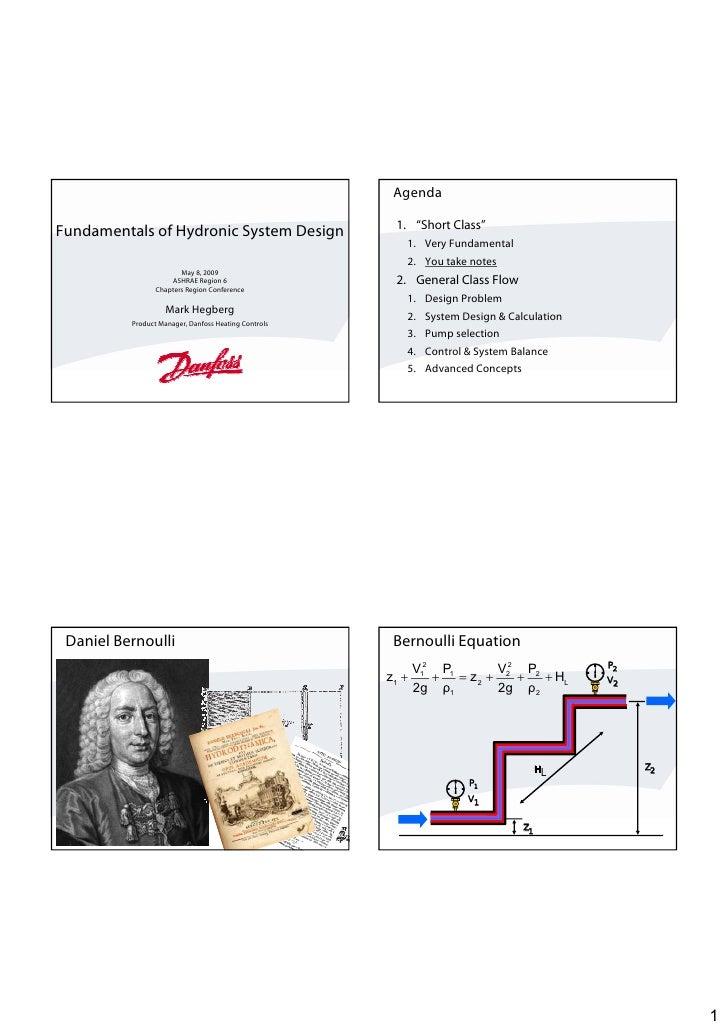 "Agenda                                                         1. ""Short Class"" Fundamentals of Hydronic System Design    ..."