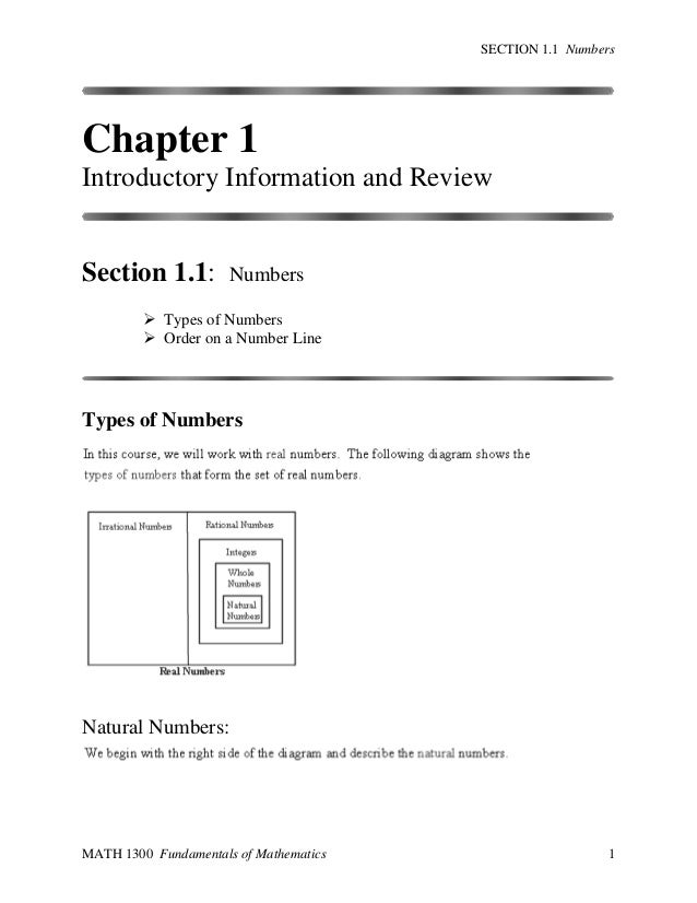 SECTION 1.1 Numbers  Chapter 1 Introductory Information and Review  Section 1.1:  Numbers   Types of Numbers  Order on a...