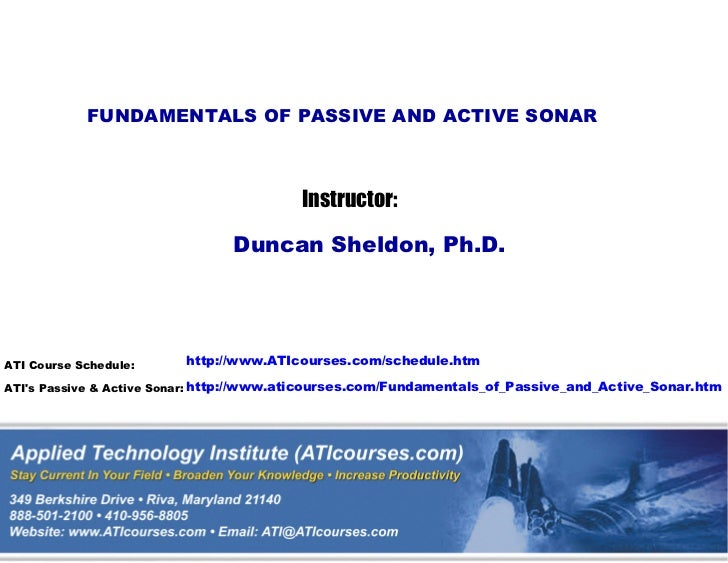 Fundamentals of Passive and Active Sonar Technical Training Short Course Sampler