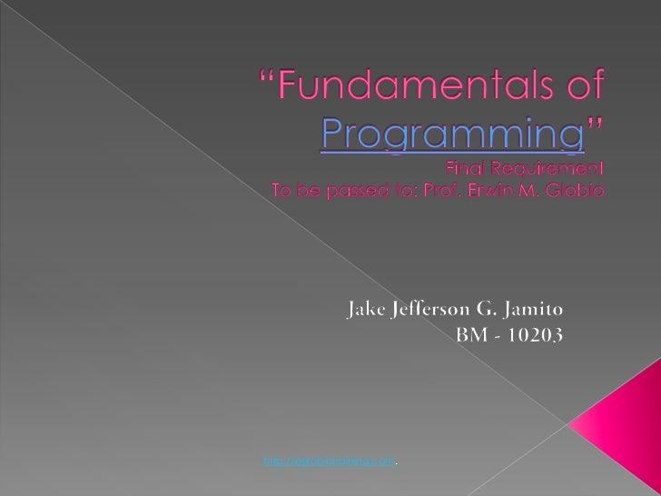 Fundamentals of programming)