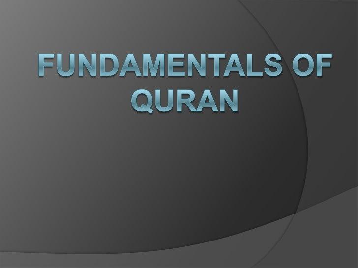 Fundamentals of Quran<br />