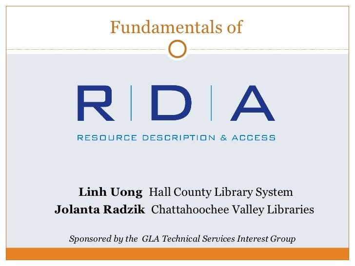 Fundamentals of RDA: Resource Description & Access