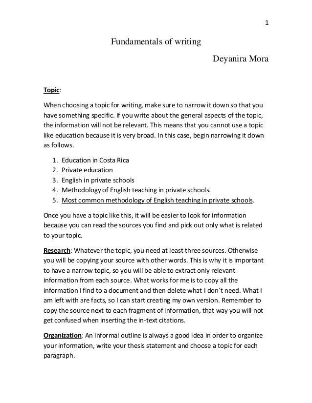 1                         Fundamentals of writing                                                           Deyanira MoraT...
