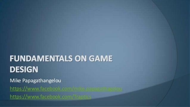 Fundamentals on game design