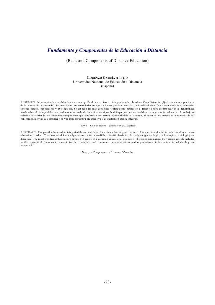 Fundamento y Componentes de la Educación a Distancia                                       (Basis and Components of Distan...