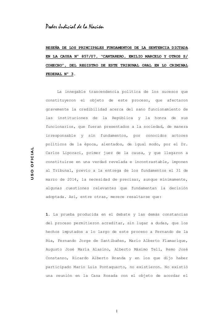 """Poder Judicial de la Nación RESEÑA DE LOS PRINCIPALES FUNDAMENTOS DE LA SENTENCIA DICTADA EN LA CAUSA Nº 857/07, """"CANTARER..."""