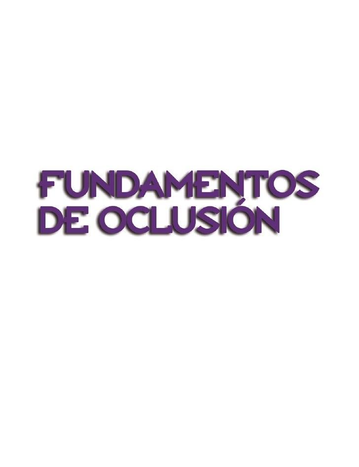 Fundamentos de Oclusión