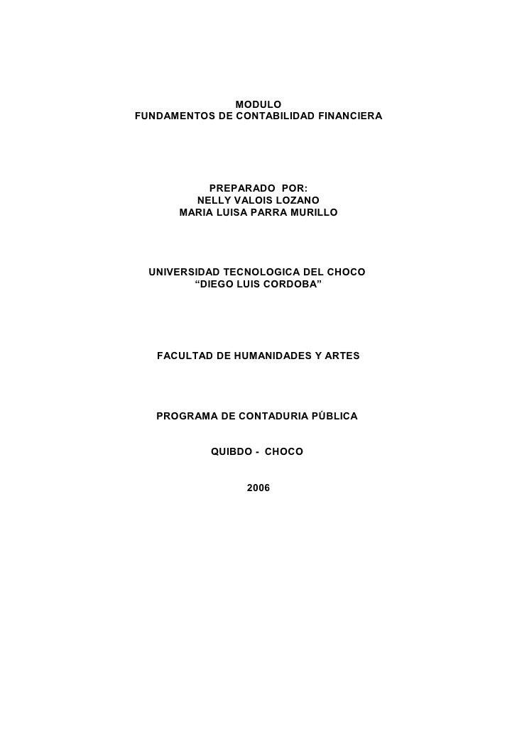 MODULOFUNDAMENTOS DE CONTABILIDAD FINANCIERA          PREPARADO POR:        NELLY VALOIS LOZANO      MARIA LUISA PARRA MUR...
