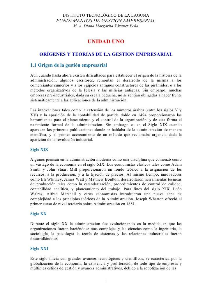INSTITUTO TECNOLÓGICO DE LA LAGUNA                FUNDAMENTOS DE GESTION EMPRESARIAL                          M. A. Diana ...