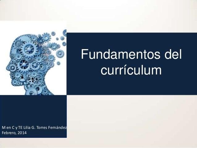Fundamentos del currículum  M en C y TE Lilia G. Torres Fernández Febrero, 2014