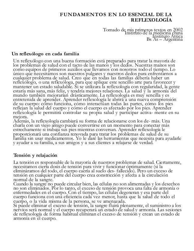 Fundamentos en lo esencial de la  reflexología
