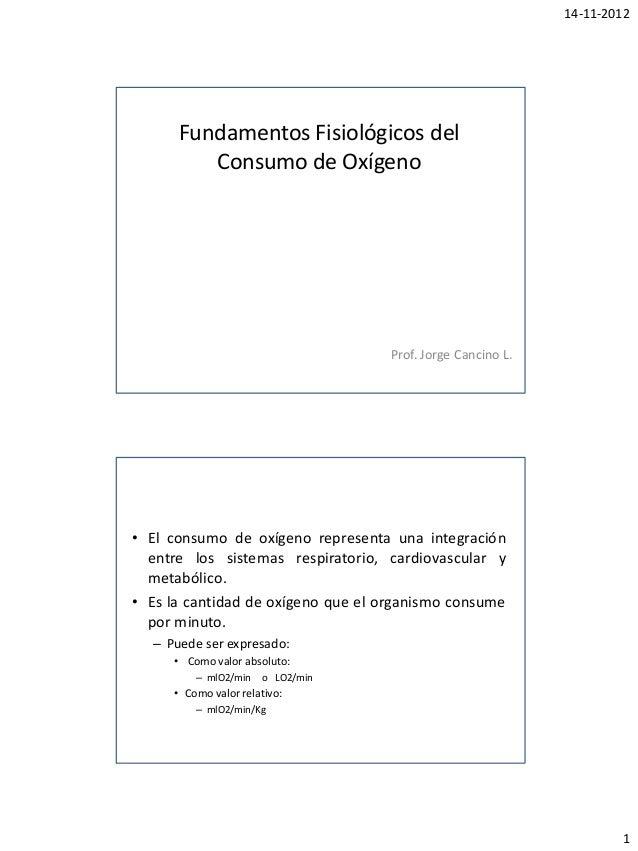 14-11-2012      Fundamentos Fisiológicos del         Consumo de Oxígeno                                   Prof. Jorge Canc...