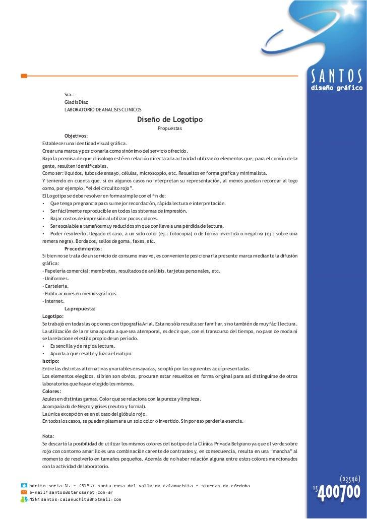 diseño gráfico                Sra.:                Gladis Díaz                LABORATORIO DE ANALISIS CLINICOS            ...