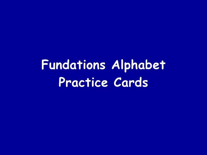 Fundations Alphabet Practice Cards