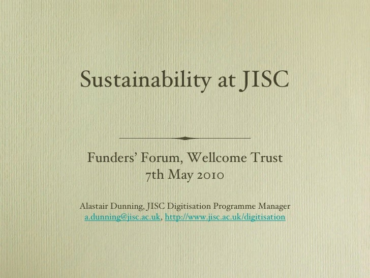 Sustainability at JISC for digital projects