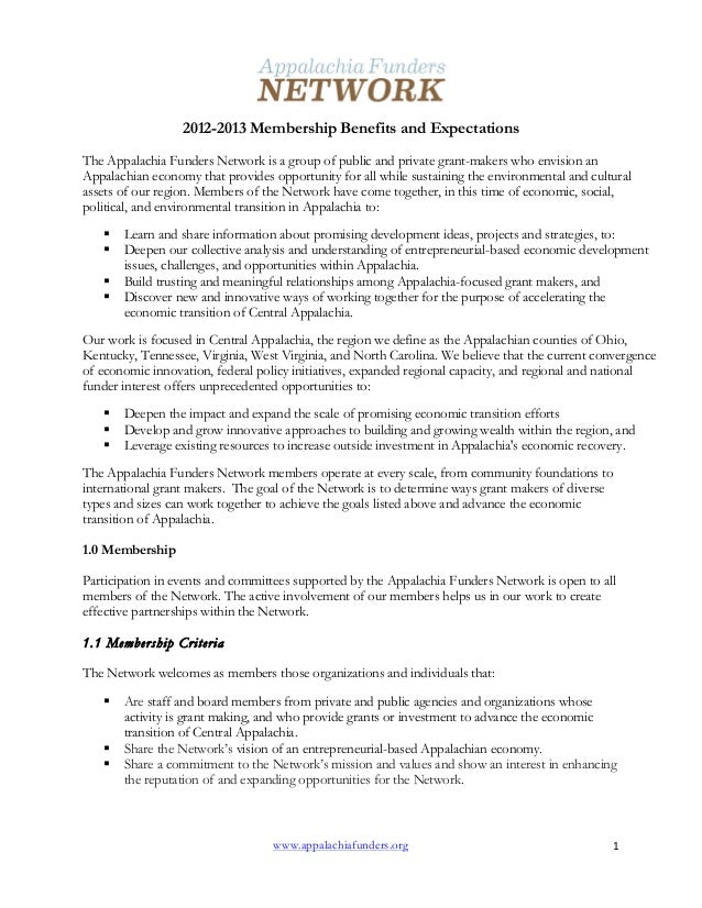 www.appalachiafunders.org 1   2012-2013 Membership Benefits and Expectations The Appalachia Funders Network is a group...