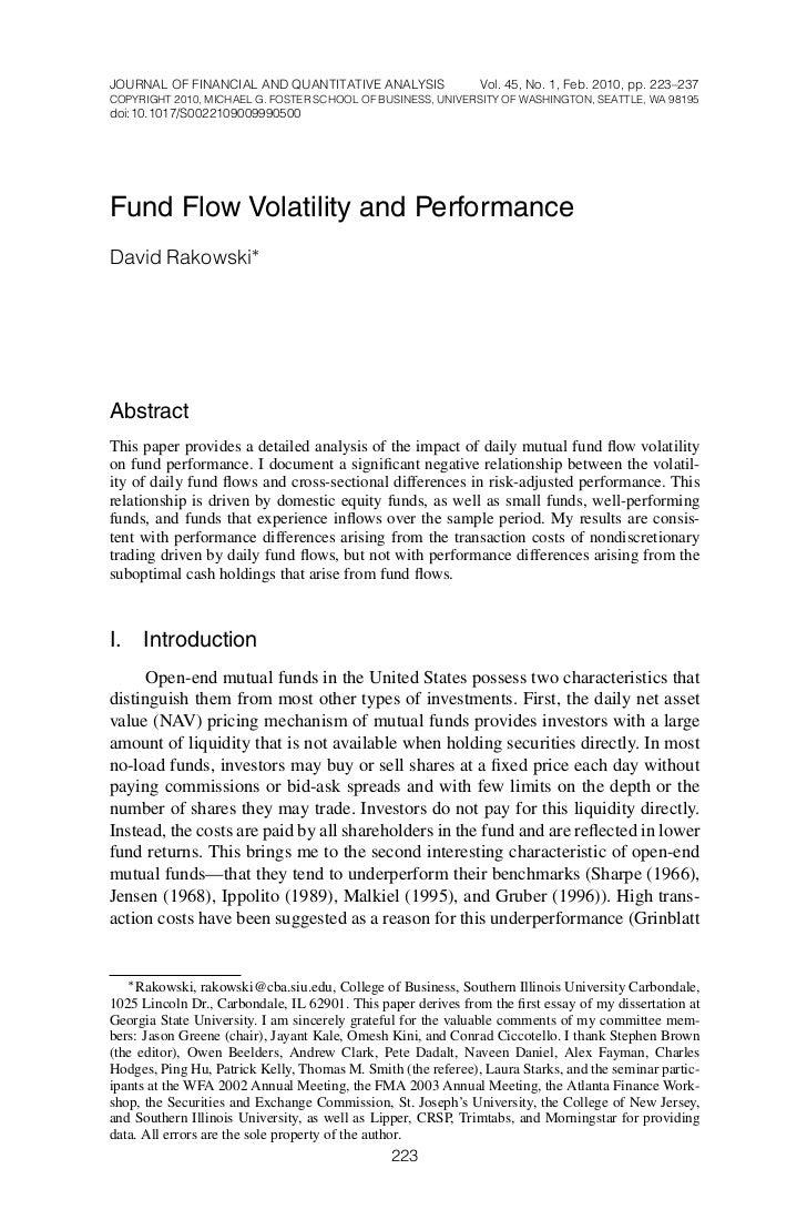 Fund flow volatility and performance rakowski