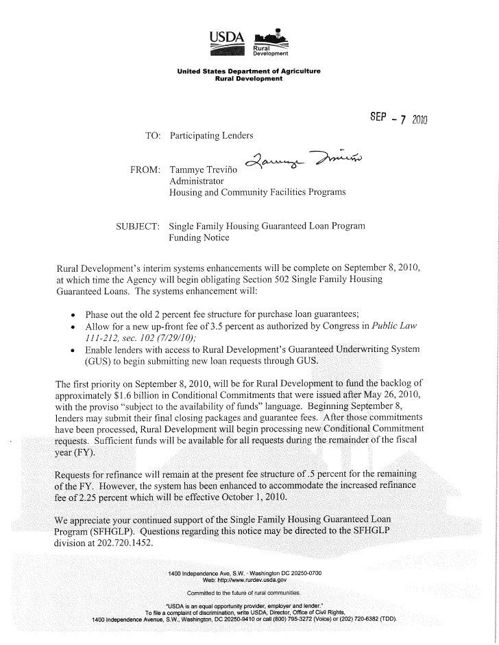 USDA Home Loan Funding Notice - 9-7-2010