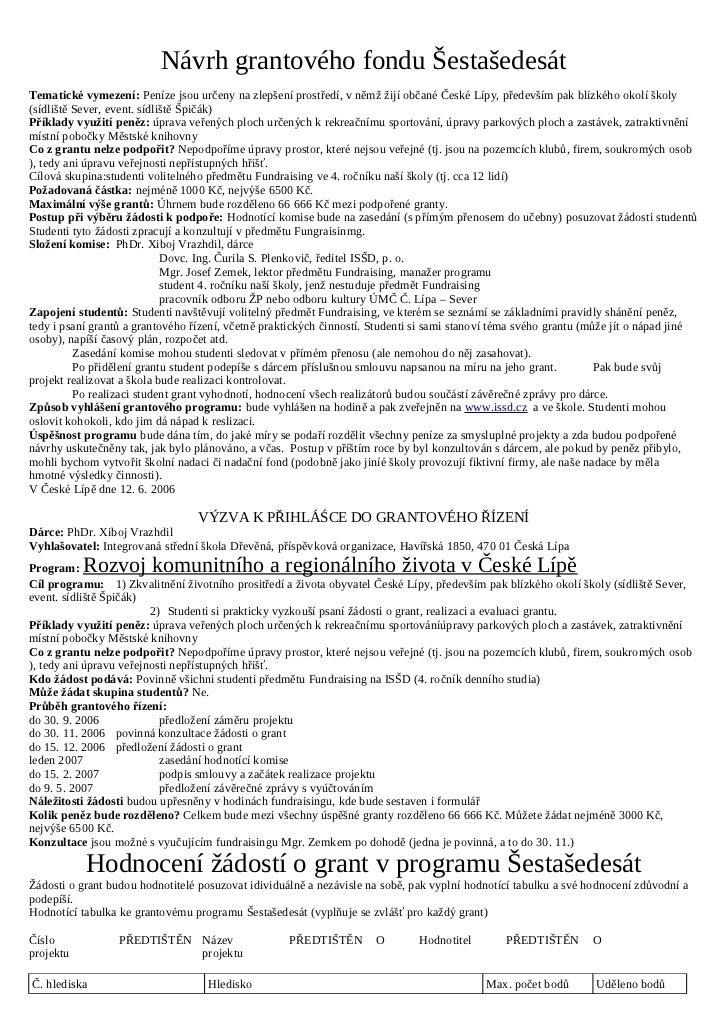 Návrh grantového fondu ŠestašedesátTematické vymezení: Peníze jsou určeny na zlepšení prostředí, v němž žijí občané České ...