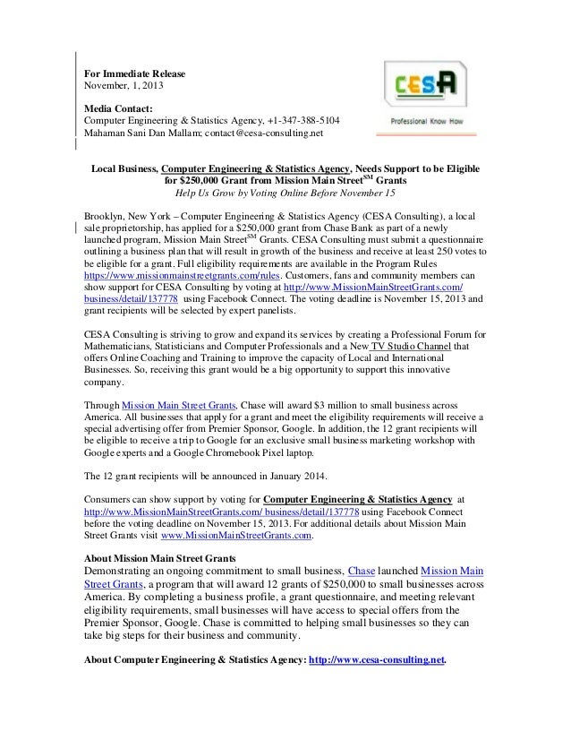 For Immediate Release November, 1, 2013 Media Contact: Computer Engineering & Statistics Agency, +1-347-388-5104 Mahaman S...