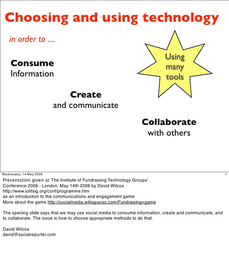 Choosing and using technology     in order to ....                                                                        ...
