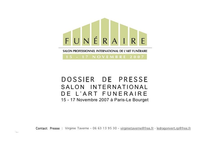 DOSSIER                    DE         PRESSE                 SALON INTERNATIONAL                 DE L'ART FUNERAIRE       ...