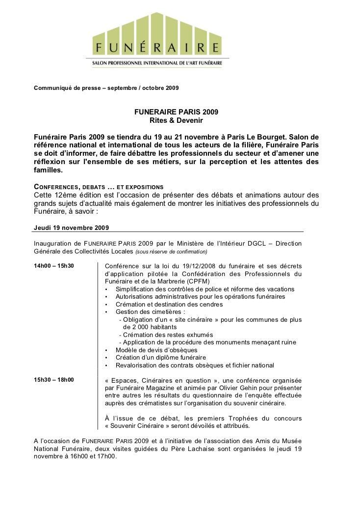 Communiqué de presse – septembre / octobre 2009                                 FUNERAIRE PARIS 2009                      ...