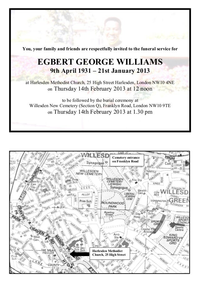Mr Egbert George Williams: Invitation to Funeral & Interment: 14 February 2013