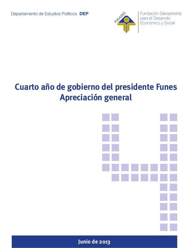 Cuarto año de gobierno del presidente Funes Apreciación general