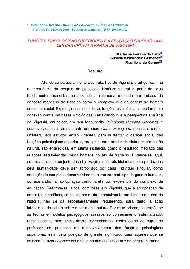 :: Verinotio - Revista On-line de Educação e Ciências Humanas.  Nº 8, Ano IV, Maio de 2008 - Publicação semestral – ISSN 1...