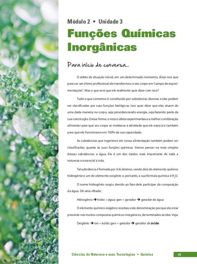 Ciências da Natureza e suas Tecnologias • Química 65 Módulo 2 • Unidade 3 Funções Químicas Inorgânicas Para início de ...