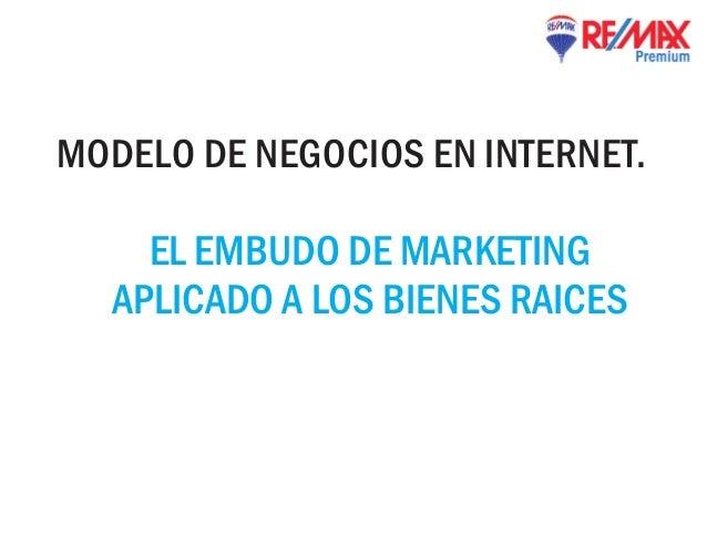 MODELO DE NEGOCIOS EN INTERNET.    EL EMBUDO DE MARKETING  APLICADO A LOS BIENES RAICES
