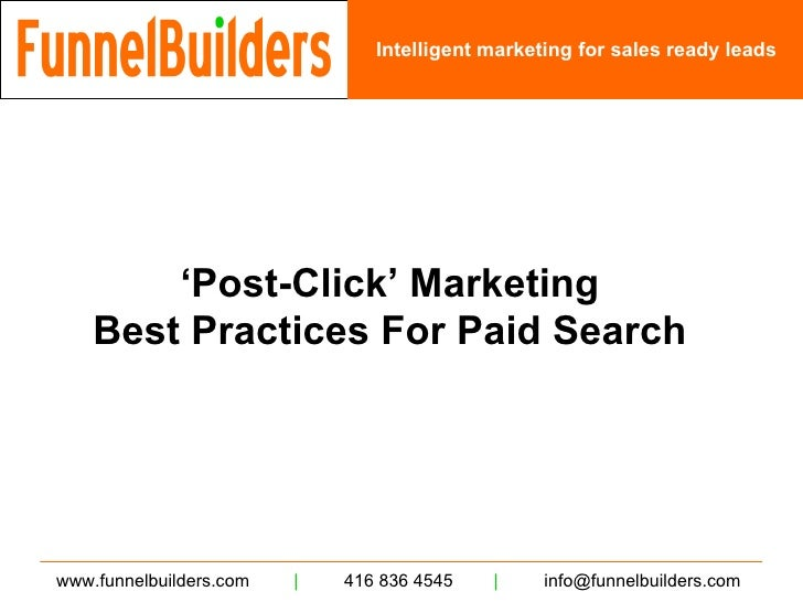 Funnel Builders - Post Click Marketing Best Practices - Paid Search
