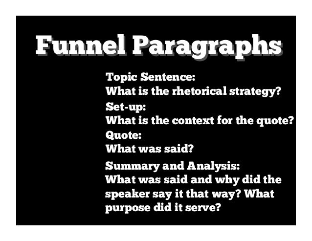 Funnel Paragraphs    Topic Sentence:    What is the rhetorical strategy?    Set-up:    What is the context for the quote? ...