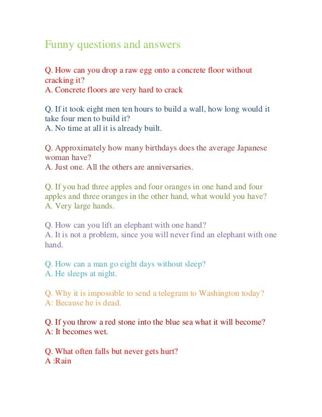 Funny questions and answers Questions And Answers Funny