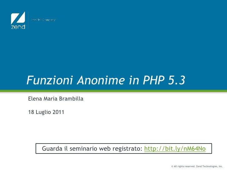 Funzioni anonime in PHP 5.3