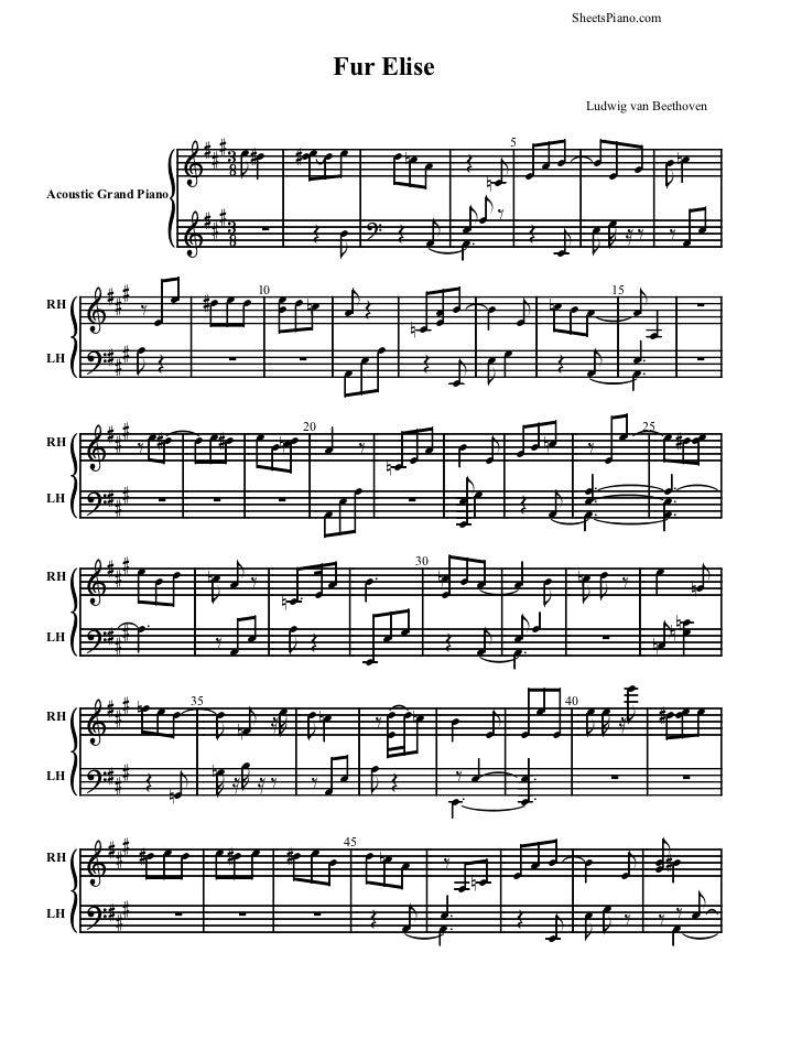 Beethoven Fur Elise sheet music