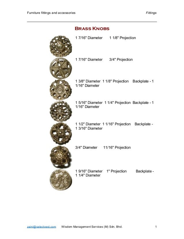 """Furniture fittings and accessories Fittings Brass Knobs 1 7/16"""" Diameter 1 1/8"""" Projection 1 7/16"""" Diameter 3/4"""" Projectio..."""