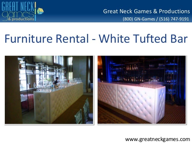 Furniture rental white tufted bar for Rent one furniture rental