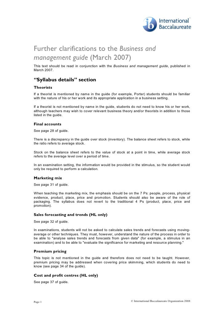 Further clarifications to the Business and management guide (March 2007)  This  text  should  be  read  in  conjunction  w...