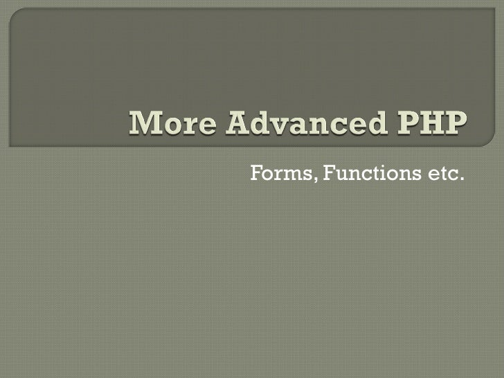 Further Php