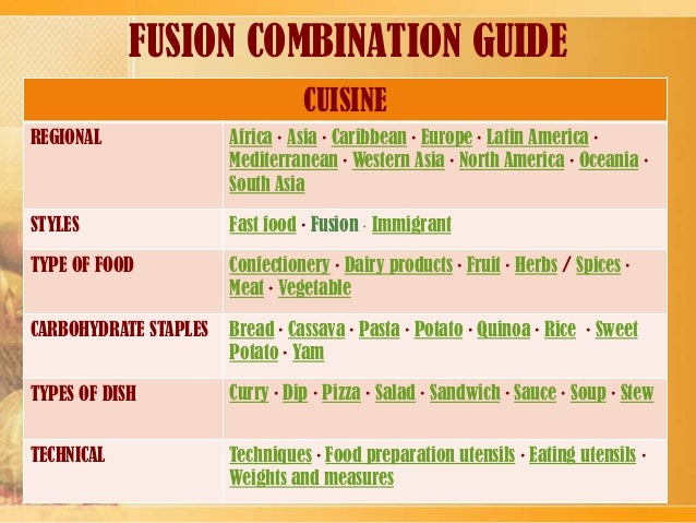 Fusion cuisine for American cuisine presentation