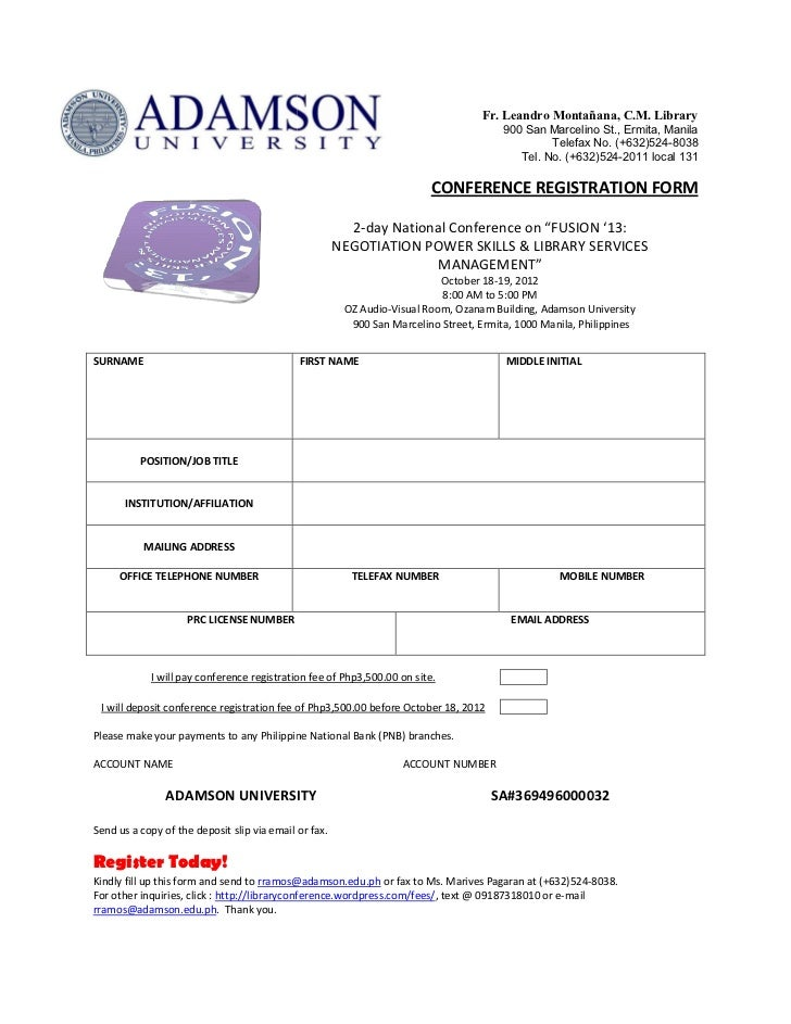 Fusion registration form