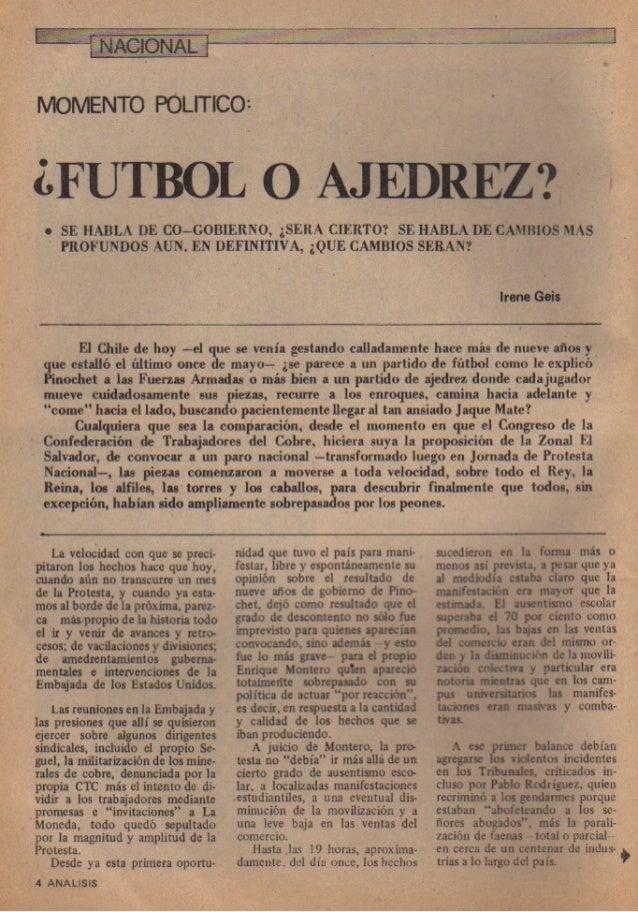 ¿Fútbol o Ajedrez? Por Irene Geis